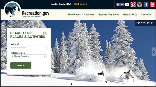 Recreation.gov screen shot.